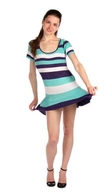 Free Girl In Stripy Blue Dress Dancing. Royalty Free Stock Image - 18313776