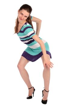 Free Girl In Stripy Blue Dress Dancing. Royalty Free Stock Photos - 18313878