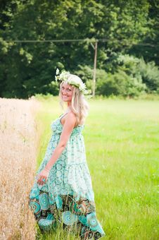 Beautiful Girl On The Meadow Royalty Free Stock Photos