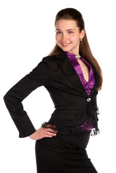 Free Girl In Black Suit Posing. Stock Photo - 18314010