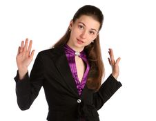 Free Girl In Black Suit Deny. Royalty Free Stock Photo - 18314055