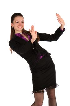 Free Girl In Black Suit Negates... Royalty Free Stock Photo - 18314095