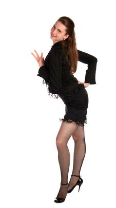 Free Girl In Black Suit Dancing. Stock Photography - 18314112