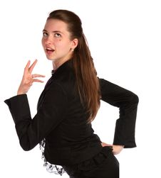 Girl In Black Suit Posing. Royalty Free Stock Photos