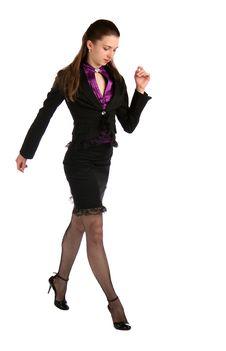 Free Girl In Black Suit Steps Forward. Stock Image - 18314271