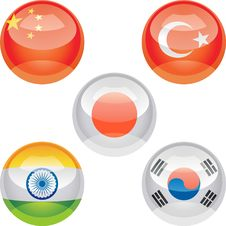 Free Flag Buttons Royalty Free Stock Photos - 18314728