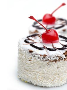 Free Cake With Cherry Topping Stock Photography - 18314902