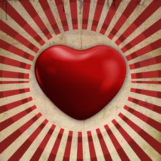 Heart On Retro Background Royalty Free Stock Image