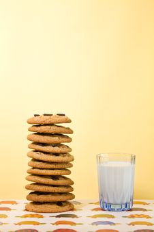 Free Chocolate Chip Cookie With Space For Text Stock Photo - 18315350