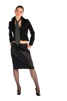 Free Girl In Black Suit With Necktie Posing. Stock Image - 18315451