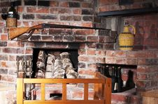 Free The Old Brick Fireplace Royalty Free Stock Images - 18315649