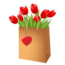 Free Red Tulips In Package Royalty Free Stock Images - 18315719