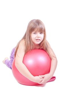 Free Girl Exercise With A Red  Ball Stock Photo - 18316040