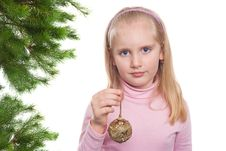 Free Pretty Girl With A Christmas Ball Stock Photography - 18316592