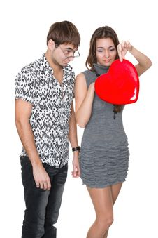 Free Funny Nerd Guy Gives A Valentine Glamorous Girl Royalty Free Stock Image - 18316746