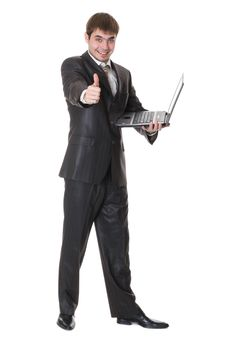Businessman Holding Laptop And Shows Okay Sign Royalty Free Stock Images
