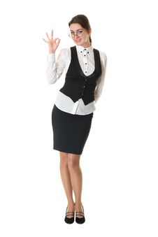 Young Business Woman In Glasses Shows Okay Sign