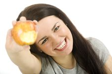Free Woman With Apple Stock Photography - 18316872