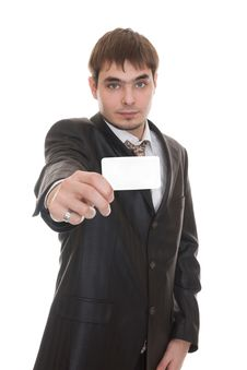 Free Businessman Holding  Blank Business Card Stock Photography - 18316882