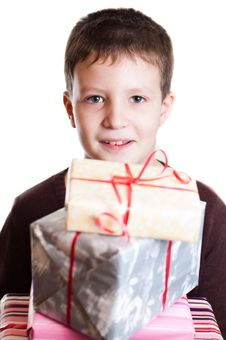 Free Boy With Gifts Royalty Free Stock Image - 18318776
