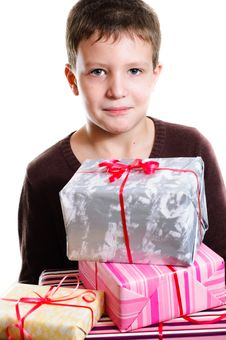 Free Boy With Gifts Royalty Free Stock Image - 18318786