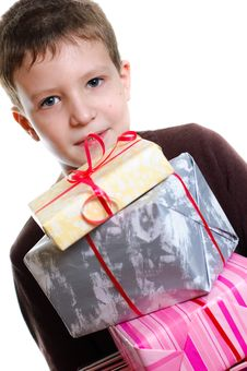 Free Boy With Gifts Stock Photo - 18318800