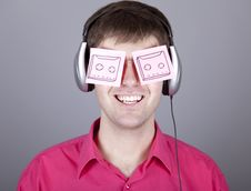 Free Funny Men With Notes And Headphone. Royalty Free Stock Photography - 18318907