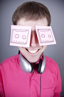 Funny Men With Notes And Headphone. Stock Images