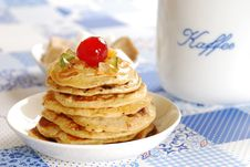 Pancakes With Cup Of Cofee Royalty Free Stock Photography