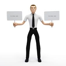 3D Businessman Holding A Blank Sign Stock Image
