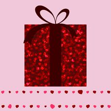 Red Gift Box And Hearts Valentine Card. EPS 8 Stock Photography