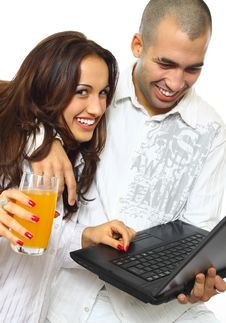 Free Couple With Laptop Stock Photography - 18321952