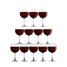 Red Wine Glass Stack Stock Photos