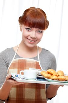 Free Housewife Holding Tray With Breakfast Stock Photo - 18322730