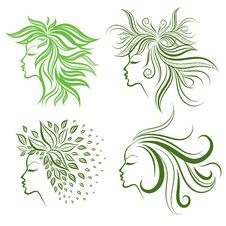 Free Vector Set Of Girls Hair From Leafs Royalty Free Stock Photography - 18322777