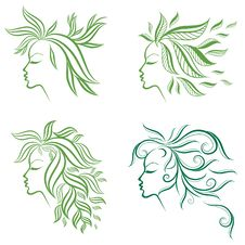 Free Vector Set Of Girls Hair From Leafs Stock Image - 18322781