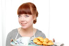 Free Housewife Holding Tray With Breakfast Royalty Free Stock Photography - 18322787