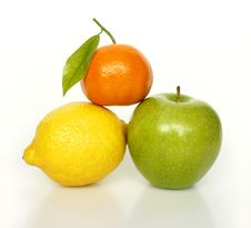 Fresh Ripe Fruits On White Stock Photography