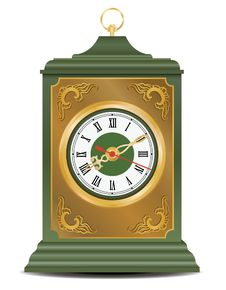 Free Bronze And Green Antique Clock, Vector Royalty Free Stock Photo - 18323265