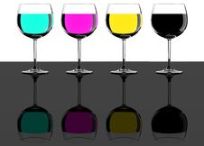 Free Four CMYK Wine Glasses Stock Photography - 18323482