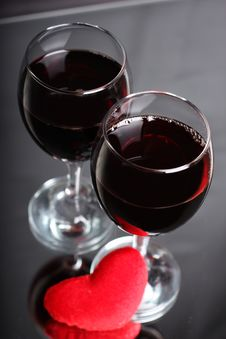 Wine With Heart Stock Images