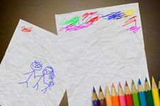 Free Drawing On Used Paper Stock Image - 18324201