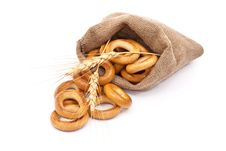 Free Burlap Sack With Bagels And Ears Royalty Free Stock Photography - 18324667