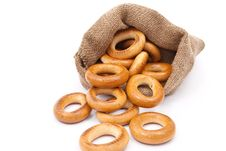 Free Burlap Sack With Bagels Stock Photography - 18324732