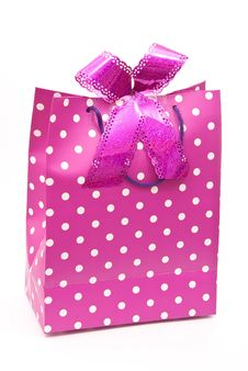 Pink Bag With Bow Stock Photos