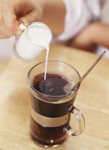 Free Pouring Cream Into Coffee Royalty Free Stock Images - 18325159
