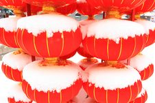 Free Chinese Red Lantern On Snow Royalty Free Stock Photos - 18325378