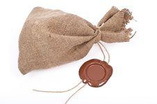 Free Sack With Sealing Wax Royalty Free Stock Photos - 18325498