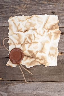 Free Old Paper With A Wax Seal Royalty Free Stock Photography - 18325627