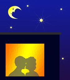 Free Amorous Silhouette In Window Royalty Free Stock Photos - 18325828